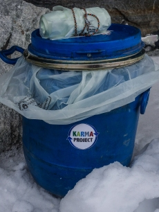 Human waste disposal system at alpine base camp